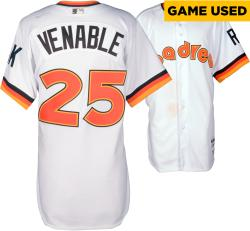 Will Venable San Diego Padres Game Used 1984 Throwback Jersey from 5/22/14 vs Chicago Cubs