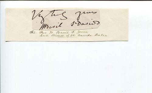 William Basil Jones Bishop of St David's Wales Clergy Religious Signed Autograph