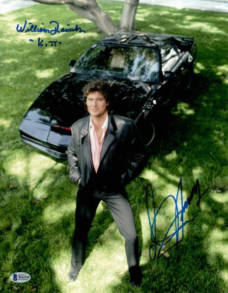 """William Daniels David Hasselhoff Signed Autograph """"knight Rider"""" 11x14  Beckett"""