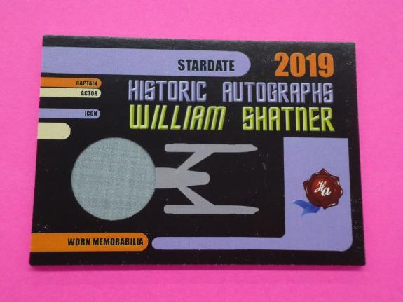 William Shatner 2019 HISTORIC AUTOGRAPHS MEM Card ACTOR WORN CLOTHING