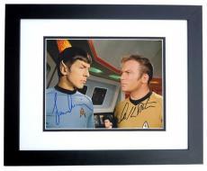 William Shatner and Leonard Nimoy Autographed STAR TREK 8x10 Photo BLACK CUSTOM FRAME