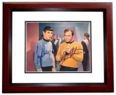 William Shatner and Leonard Nimoy Autographed STAR TREK 8x10 Photo MAHOGANY CUSTOM FRAME