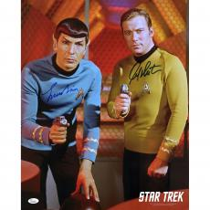 "William Shatner and Leonard Nimoy Star Trek Autographed 16"" x 20"" Both Pointing Phaser Photograph - JSA"