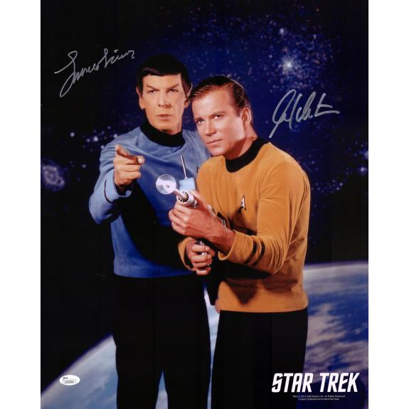 "William Shatner and Leonard Nimoy Star Trek Autographed 16"" x 20"" Galaxy Background Photograph - JSA"