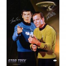"William Shatner and Leonard Nimoy Star Trek Autographed 16"" x 20"" Pointing Finger and Phaser Photograph - JSA"