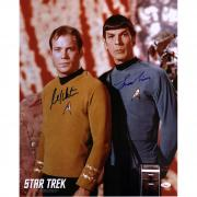 "William Shatner and Leonard Nimoy Star Trek Autographed 16"" x 20"" Posing Photograph - JSA"