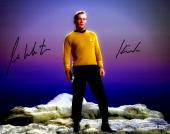 "William Shatner Autographed 16"" x 20"" Star Trek Standing on Rock Photograph with Kirk Inscription - Beckett COA"