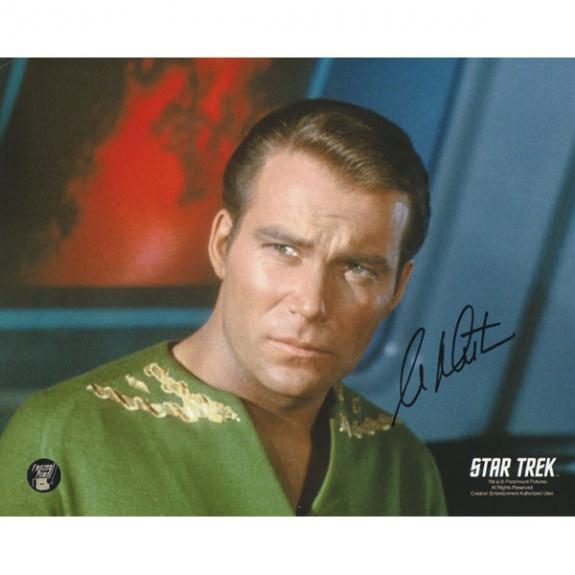 William Shatner Autographed Star Trek 8X10 Photo (Green Shirt)