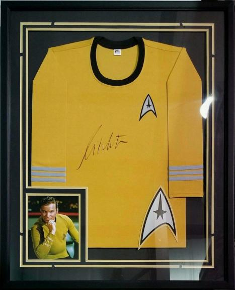 William Shatner Autographed Signed Gold Uniform Framed Star Trek Beckett