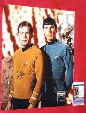 William Shatner Autographed Star Trek 16x20 Photo Jsa As Captain Kirk W Spock