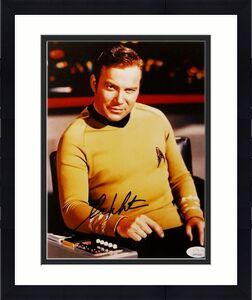 William Shatner Autographed Star Trek 8x10 Command Desk Photo - JSA W Auth *Blue