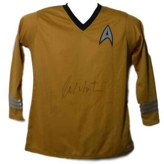 William Shatner Autographed Star Trek Large Yellow Uniform Shirt PSA 10159