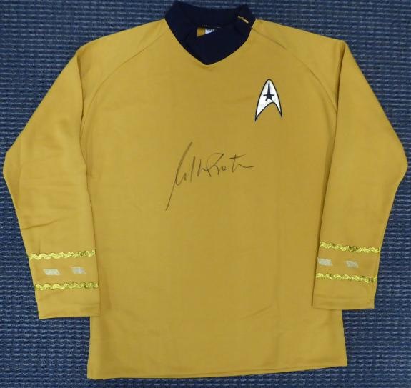 William Shatner Autographed Star Trek Uniform Shirt With Zipper L JSA Stock #159211