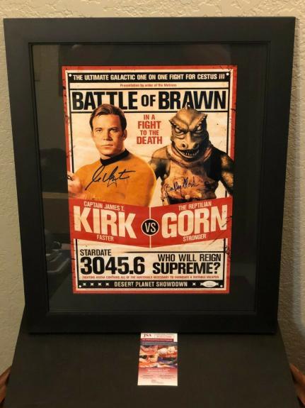 William Shatner Bobby Clark Star Trek Gorn Signed Autographed Framed Photo JSA