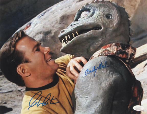 William Shatner Bobby Clark Star Trek Kirk Gorn Signed Autograph 11x14 Photo JSA