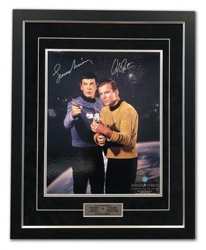 William Shatner Captain Kirk & Leonard Nimoy Spock Signed Star Trek 31x25 Frame