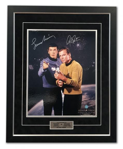 William Shatner Captain Kirk & Leonard Nimoy Spock Signed Star Trek 26x32 Frame