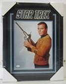"""William Shatner """"captain Kirk"""" Signed Star Trek 11x14 Photo Framed Jsa #m83185"""
