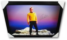 William Shatner Hand Signed Autographed Stretched 24x34 Canvas Framed PSA/DNA