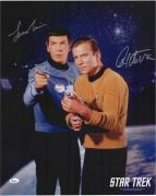 """William Shatner & Leonard Nimoy Autographed 16"""" x 20"""" Point with Space Background Photograph - JSA"""