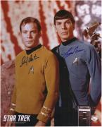 "William Shatner & Leonard Nimoy Autographed 16"" x 20"" Posing Photograph - JSA"
