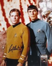 William Shatner & Leonard Nimoy Signed Star Trek 11x14 Photo Autograph Jsa Coa