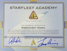 William Shatner & Leonard Nimoy Signed Star Trek Kobayashi Maru Certificate PSA
