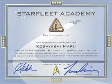 William Shatner & Leonard Nimoy signed Star Trek Starfleet Kobayashi Maru 9x12 Diploma LTD 50/216- PSA Holo (tv/entertainment)