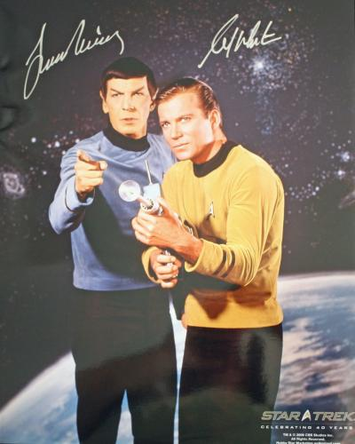 WILLIAM SHATNER/ LEONARD NIMOY (Star Trek) Dual Signed 16x20 Photo- VERY RARE!