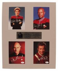 William Shatner Patrick Stewart Mulgrew Brooks Star Trek Captains Signed - JSA