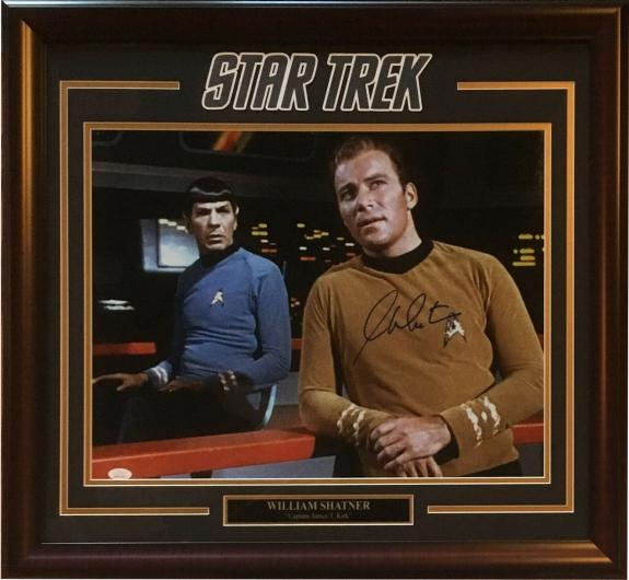 William Shatner signed 16x20 Captain Kirk Star Trek photo framed auto JSA COA