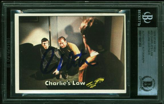 William Shatner Signed 1976 Star Trek #22 Charlie's Law Auto Card BAS Slabbed