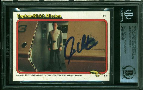 William Shatner Signed 1979 Star Trek #11 Captian Kirk's Mission Card BAS Slab