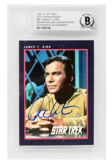William Shatner Signed 1991 Star Trek 25th Anniversary James T. Kirk Impel Trading Card #97 - (Beckett Encapsulated)