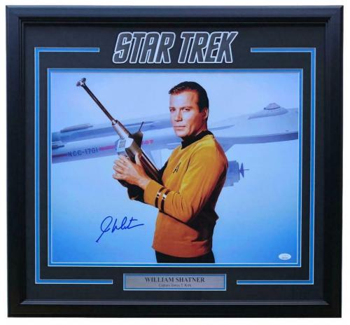 William Shatner Signed Framed Star Trek 16x20 Starship USS Enterprise Photo JSA
