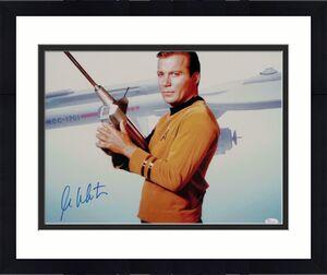 William Shatner Signed Star Trek 16x20 Photo *Blue Enterprise/Space Gun - JSA W