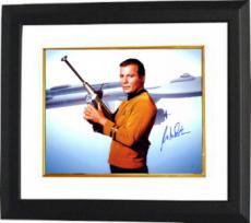 William Shatner signed Star Trek 16x20 Photo Custom Framed w/ Gun- Steiner Hologram (Captain Kirk) (movie/tv/entertainment)