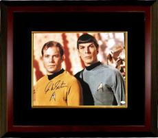 William Shatner signed Star Trek 16x20 Photo Custom Framed (with Nimoy)- JSA Hologram (Captain Kirk) (movie/tv/entertainment)