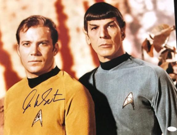 William Shatner signed Star Trek 16x20 Photo (with Nimoy)- JSA Hologram (Captain Kirk) (movie/tv/entertainment)