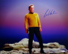 William Shatner Signed Star Trek 16x20 Standing on Rock *Blue/Right JSA W Auth