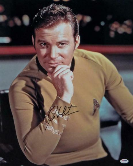 William Shatner Signed Star Trek 16x20 Up Close Hand on Chin *Blk Photo-PSA Auth