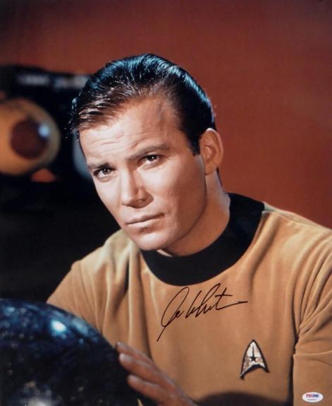 William Shatner Signed Star Trek 16x20 Up Close with Globe *Blk Photo-PSA Auth