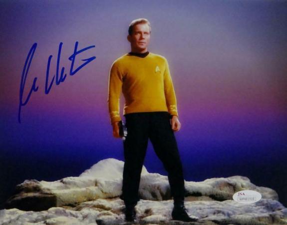 William Shatner Signed Star Trek 8x10 Photo Standing on Rock - JSA W Auth