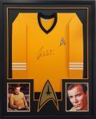 William Shatner Signed Yellow Custom Framed Star Trek Uniform - Cut Decal