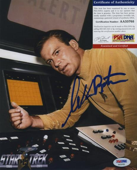 William Shatner Star Trek Signed Autographed Color 8x10 Photo Psa Dna Aa33705