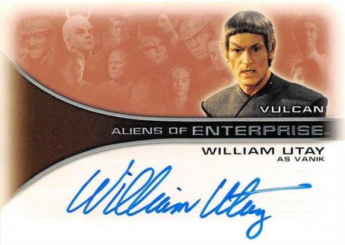 William Utay autographed trading card Enterprise Aliens as Vulcan Vanik 2002 Star Trek #AA10 Certified Insert 67