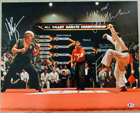William Zabka Ralph Macchio Signed 16x20 Karate Kid Photo Beckett BAS Witnessed