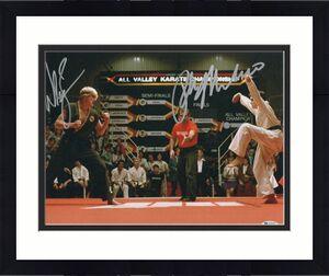 William Zabka Ralph Macchio Signed Auto The Karate Kid 11x14 Metallic Beckett 1