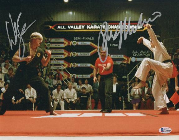 William Zabka Ralph Macchio Signed Auto The Karate Kid 11x14 Metallic Beckett 2