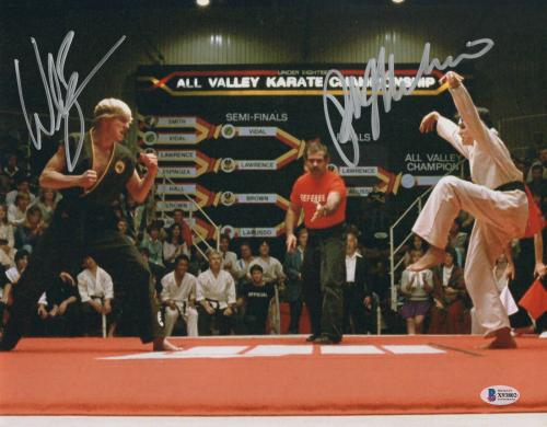 William Zabka Ralph Macchio Signed Auto The Karate Kid 11x14 Metallic Beckett 4